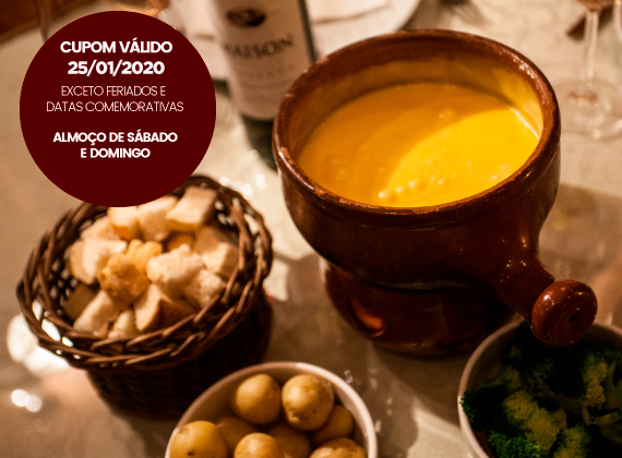 ALMO�O Sabado e Domingo - Sequencia de fondue na pedra para 1 pessoa de R$82,00 por apenas R$46,00