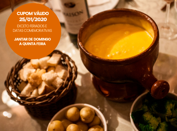 JANTAR de Domingo a Quinta - Sequencia de fondue na pedra para 2 pessoas de R$164,00 por apenas R$118,00