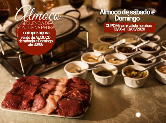 ALMO�O Sabado e Domingo - Sequencia de fondue na pedra para 01 pessoa de R$82,00 por apenas R$46,00