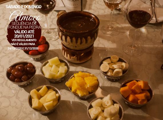 ALMO�O Sabado e Domingo - Sequencia de fondue na pedra para 01 pessoa de R$82,00 por apenas R$49,90