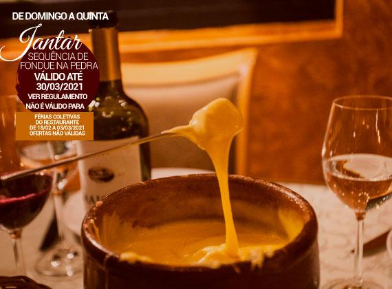 JANTAR de domingo a quinta - Sequencia de fondue na pedra para 02 pessoas de R$164,00 por apenas R$126,00