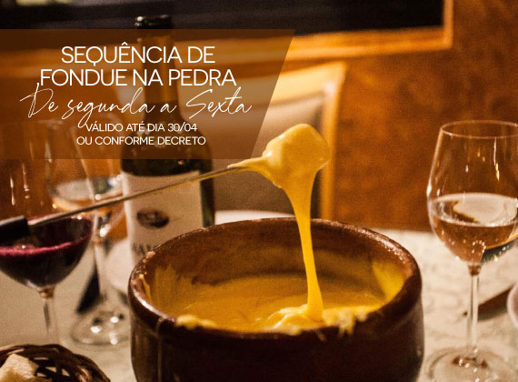 ALMO�O de segunda a sexta - Sequencia de fondue na pedra para 01 pessoa de R$82,00 por apenas R$49,90