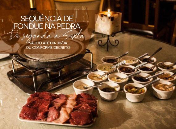 ALMO�O de segunda a sexta - Sequencia de fondue na pedra para 02 pessoas de R$164,00 por apenas R$99,80