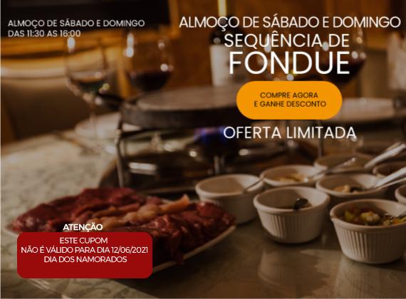 Almo�o de sabado e domingo - Sequencia de fondue na pedra para 02 pessoas de R$192,00 por apenas R$109,80