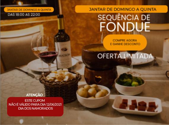 Jantar de domingo a  quinta - Sequencia de fondue na pedra para 01 pessoa de R$96,00 por apenas R$69,00